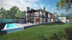4 Bedroom Contemporary House Plan - CN444AW - Plans123 House Plans Online, Best House Plans, Contemporary House Plans, Contemporary Bedroom, Building Costs, Building Design, Built In Braai, Flat Roof House, National Building