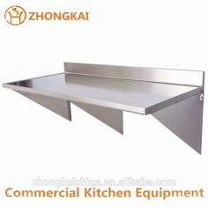 Wholesale Price Commercial Stainless Steel Wall Mounted Lowes Storage Shelves Table with Backsplash