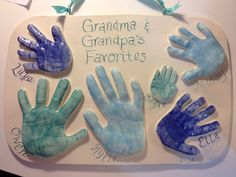 Handprint Plaque Featuring all of the Grandkids