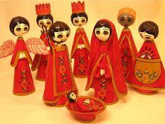 Paper Mache Nativity Set