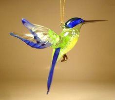 Blown Glass Figurine Art Bird Hanging Blue HUMMINGBIRD Ornament