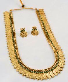 Indian Designer Green Kasu mala long necklace set