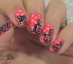 NailsLikeLace: Twinsie Tuesday: Monochrome - Pink on Pink Roses and Dots