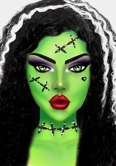 Creepy Doll Halloween, Cute Halloween Makeup, Halloween Eyes, Halloween Looks, Halloween Costumes, Face Gems, Face Jewels, Scared Face, Fx Makeup