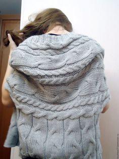 Купить Жилет-накидка из мериносовой полушерсти - серый, джемпер вязаный, свитер вязаный, жилет вязаный