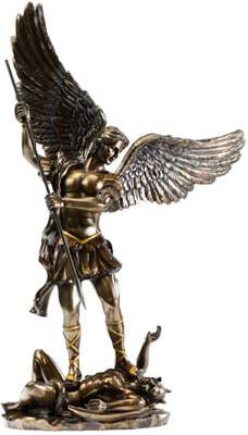 """A beautiful and highly detailed statue depicting St. Michael subduing the beast. Cold cast resin, hand painted bronze. 15"""" x 9"""" x 4""""                                                                                                                                                      More"""