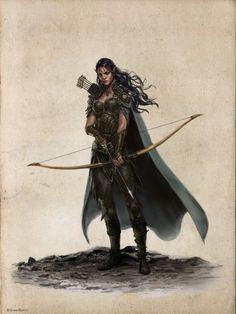 character concept female wield bow ranger cloak forest road npc companion Najah, Elf Rogue-Ilich Henriquez by Ilacha.deviantart.com on @DeviantArt