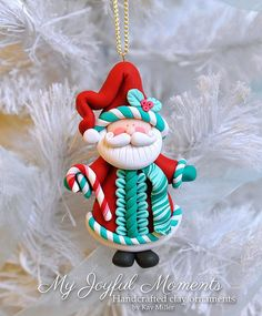 polymer Clay santa Christmas Ornament - Google Search