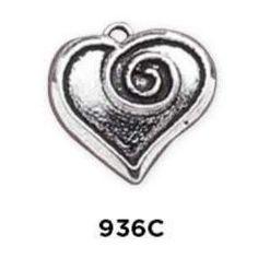 Swirl Heart Charm Sterling Silver