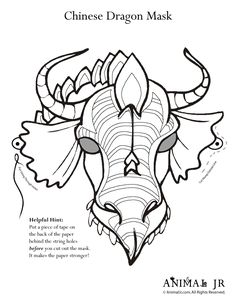 Printable Dragon Mask Coloring Page