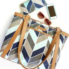 Women's Laptop Bag in Navy and Mint Herringbone by kailochic