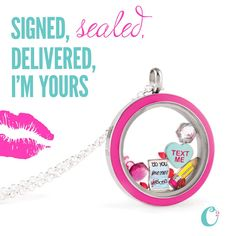 """A perfect way to say """"I Love You"""" to someone special this Valentine's Day - with an Origami Owl Locket - Signed, Sealed, Delivered, I'm Yours! Come design your locket today at StoriedCharms.com"""