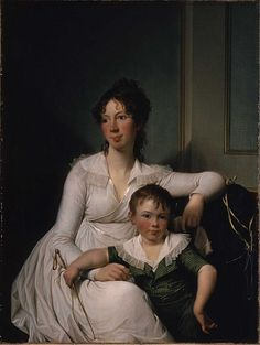 Portrait of Elisabeth Henriette Bruun de Neergaard with her eldest son Henrik by Jens Juel, 1799-1800 Denmark, Ny Carlsberg Glyptotek  The Athenaeum gives the artist as George William Joy, but this can't be right because he was born in 1844 - long after this painting was made. I can't find the painting in the museum's collections to find out where the confusion comes from.