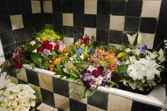 A different bath-tub full of flowers | Un baño diferente lleno de flores