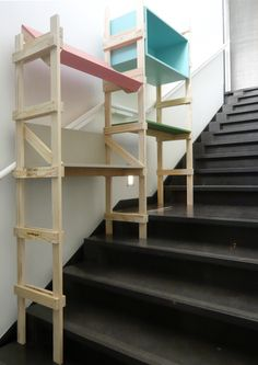 """Designed for living stairs, SCALA also lives on flat ground. The modules that compose this shelves combine with freedom on a """"Do It Yourself"""". Open source, it can be modified and adapted to the needs of its users.      Distributed under Free Art License  www.mathieu-g.be"""