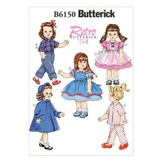 Butterick 18″ Doll Clothes Pattern - Size: One Size Only - Pattern Number: B6150
