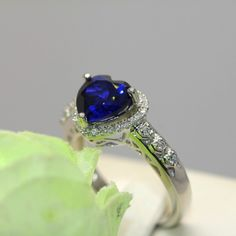 Dazzling Sapphire Heart S925 Silver 18K Gold Finger Ring For Women - USD $79.95 : EverMarker.com