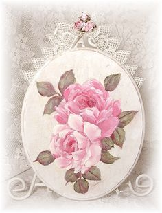 Image detail for -Romantic Shabby Cottage Oval Plaque with Pink Roses