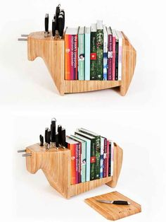 Display your cookbooks on this practical knife block.