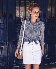 my grey & white striped skirt w/ white button down