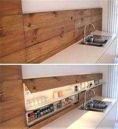 40 Inspiring Hidden Storage Design Ideas - Home Design Hidden Kitchen, Kitchen Wood, Island Kitchen, Smart Kitchen, Kitchen Cabinets, Life Kitchen, Awesome Kitchen, Kitchen Sink, Kitchen Ideas