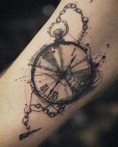 Watercolor pocket watch - 100 Awesome Watch Tattoo Designs <3 <3 #tattoodesign