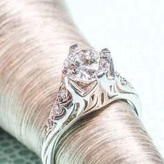 vitage style engagment ring 14k white gold with 6 accent diamonds semi mount