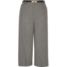 River Island Grey tweed belted culottes ($21) ❤ liked on Polyvore featuring pants, capris, sale, grey pants, tweed trousers, wide leg pants, gray trousers and grey tweed pants