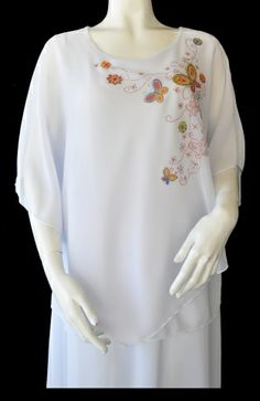 White Spring Butterfly Poncho Top. $39 Plus sizes available. Eastern Star, Poncho Tops, White Springs, Camisole, Butterfly, Plus Size, Turquoise, Elegant, Skirts