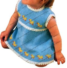 Just Ducky Vintage Digital Pattern to Knit Baby Girl Sun Dress - PDF Email Delivery - PrettyPatternsPlease    I love this sleeveless baby