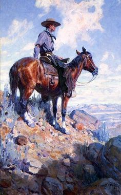 William Herbert Dunton - William Herbert Buck Dunton - Sentinel of the Plains… Art And Illustration, Native American Art, American Artists, Cowboy Pictures, Southwestern Art, West Art, Ecole Art, Cowboy Art, Le Far West