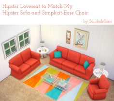 My Sims 4 Blog: Hipster Loveseat to Match My Hipster Sofa and Simplicit-Ease Chair by SaudadeSims