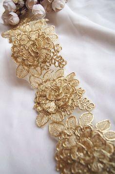 cordon or lace trim or alencon dentelle rose par WeddingbySophie Embroidered Lace Fabric, Embroidery Fabric, Lace Applique, Embroidery Designs, Beaded Embroidery, Tulle Lace, Beaded Lace, Wedding Fabric, Gown Wedding