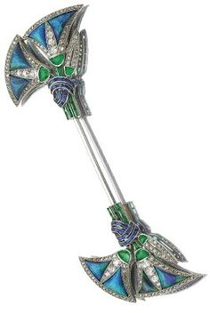 Art Deco Jabot pin set with opals, sapphires, emeralds and diamonds