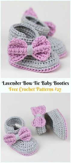 Lavender Bow Tie Baby Booties Crochet Free Pattern & Video - Ankle High Baby Free Patterns Crochet Ankle High Baby Booties Free Patterns with Instructions: Keep baby feet in style and warmth with these baby booties/boots, holiday gift ideas. Crochet Baby Beanie, Crochet Baby Blanket Beginner, Crochet Baby Boots, Booties Crochet, Baby Girl Crochet, Crochet Baby Clothes, Baby Knitting, Crochet Baby Headbands, Crochet Baby Stuff