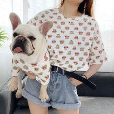 Matching Dog Shirts for Bulldogs Puppy Clothes Girl, Cute Dog Clothes, Matching Clothes, Matching Outfits, Dog Fashion, Animal Fashion, Dog Hoodie, Dog Shirt, French Bulldog Clothes