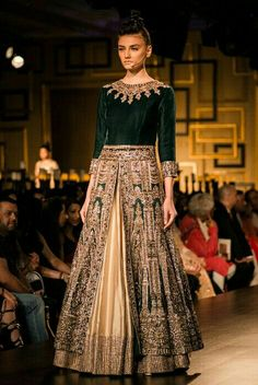 Cream Lengha Set with Embroidered Emerald Jacket - Indian Couture Week 2014 - Runway - Shop Women Indian Attire, Indian Ethnic Wear, Indian India, Pakistani Outfits, Indian Outfits, Ethnic Fashion, Asian Fashion, Indian Bridal Wear, Pakistani Bridal