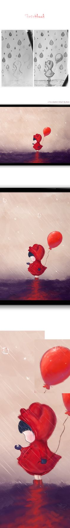 Girl with a red balloon .. . on Wacom Gallery  precious memories