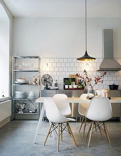 kitchen, white tile backsplash, eames chairs, open shelving, white dishes