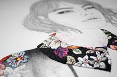 Izziyana Suhaimi - tableaux mêlant dessin et broderie
