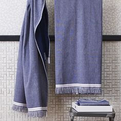 """<span class=""""copyHeader"""">spa day, every day.</span>The selvedge towels were designed exclusively for CB2 in collaboration with The Hill-Side. Brooklyn-based menswear designers, and brothers, Emil and Sandy Corsillo known for high-quality workwear fabrics and patterns with a hint of heritage. Together with their unmistakable urban aesthetic, the duo creates a fresh vibe that's somehow both equally hip and timeless. The Turkish-style cotton ups the spa factor in any bathroom. Self-finished…"""