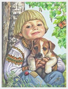 "From the collection ""Русь"" Cartoon Kunst, Cartoon Art, Art And Illustration, Little Girl Illustrations, Fairy Tail Art, Ukrainian Art, Pencil Art Drawings, Russian Art, Art Pages"