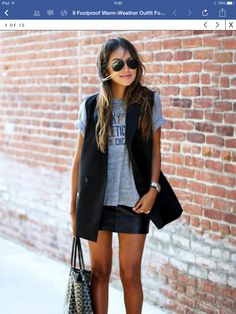 Leather skirt casual tee