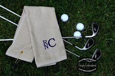 Monogrammed Golf Towel , Groomsmen Gifts .... would be cute with name and date of wedding