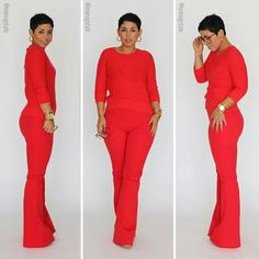 All red  top and pants style fashion