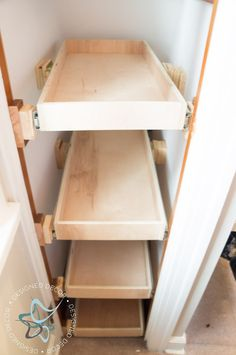 An affordable way to building pull out shelves for a shoe closet. This is a great way to eliminate the clutter of shoes on the floor. by DeDe Bailey