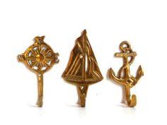 Vintage Brass Nautical Wall Hooks  Three by aestheticallyantique, $10.00