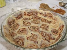 Flattened out cinnamon roll dough to make apple pie crust. Genius!