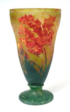 Indigo Dreams — Daum vase with this same Parrot Tulip decoration