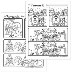 Coloring Pages 7 Noel Christmas, Christmas Crafts, Xmas, Christmas Ornaments, French Lessons, English Lessons, Diy Advent Calendar, Theme Noel, Ornaments Design